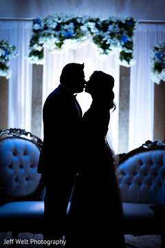 Indian bride and groom silhouette photo.