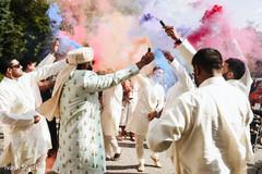 Colorful Indian groom's baraat celebration.