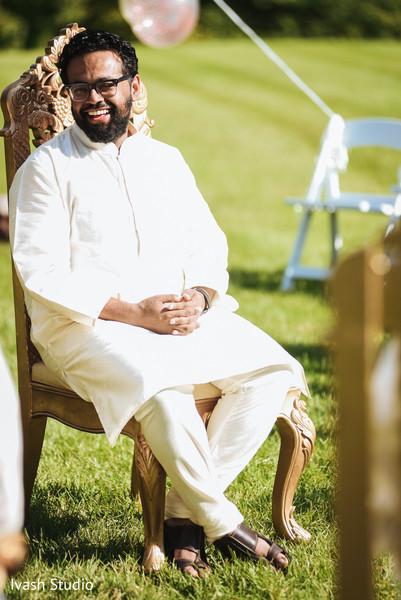 Indian groomsmen photo at ceremony.