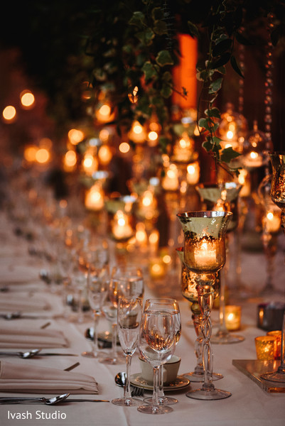 Dreamy Indian wedding  table candles decor.
