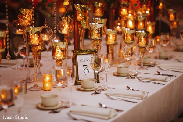 Elegant Indian wedding table number capture.
