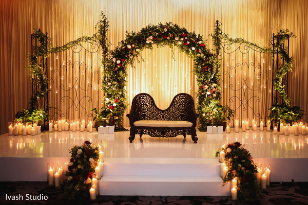indian wedding reception decor,stage decor,lights decor,candles decor