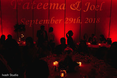 Stunning Indian wedding reception personalized lights.