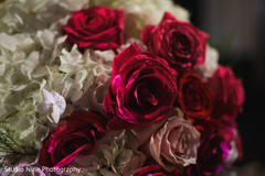 Closeup capture of Indian wedding flowers decor.