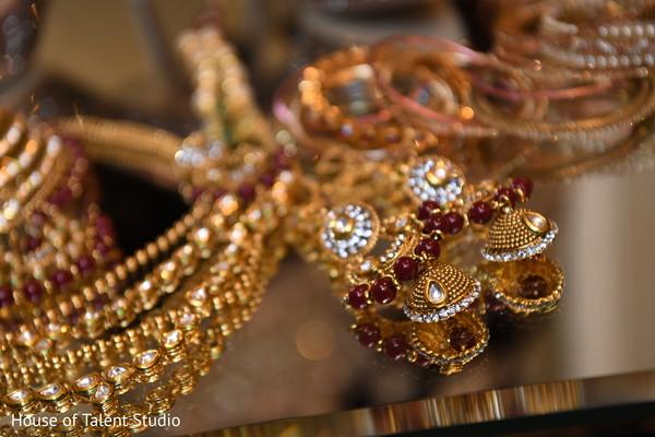 Closeup capture of maharani's earrings.