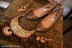 Elegant Indian bridal polki necklace choker set and shoes capture.