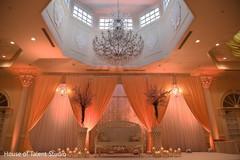 Dreamy Indian wedding reception stage decoration.
