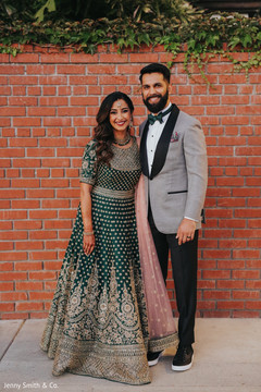 Lengha and tux details of the Indian couple