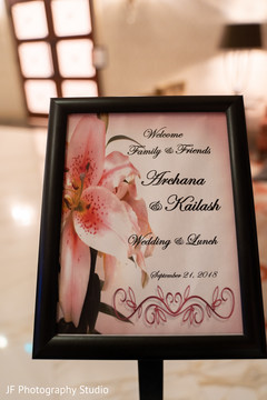 Elegant Indian wedding personalized lunch sign.