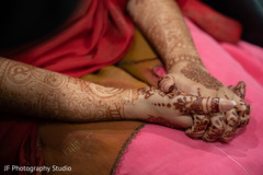 Marvelous Indian bride's henna art on her hands.