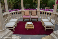 Elegant Indian wedding ceremony sacred fire setup.