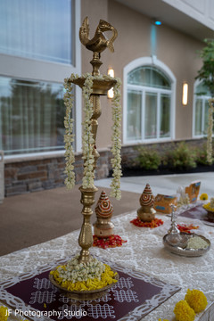 Indian wedding ceremony flowers decor.