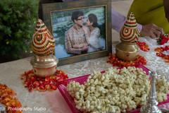Amazing Indian wedding ritual items table.