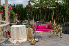 Colorful Indian wedding ceremony  swing seat.