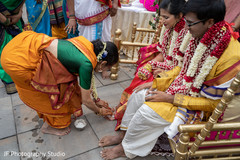 Indian bride and groom during the Kanyadana ritual.