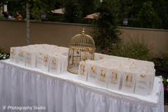 Stunning Indian wedding reception favors table.
