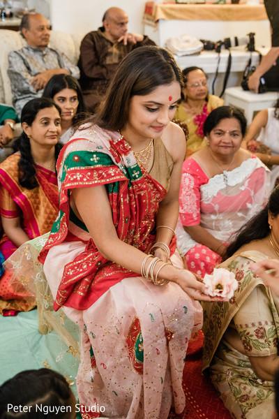 Enchanting Indian bride at her Haldi celebration.