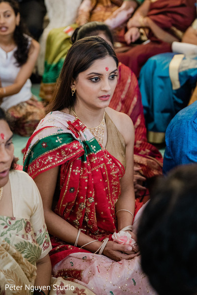 Closeup capture of Indian bride at her Haldi celebration.