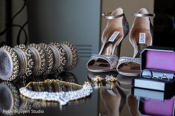 Wonderful capture of Indian bridal jewelry and shoes.