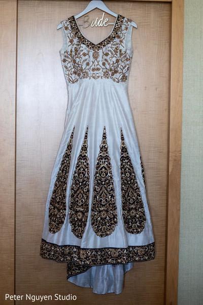 Marvelous Indian bridal white wedding dress.