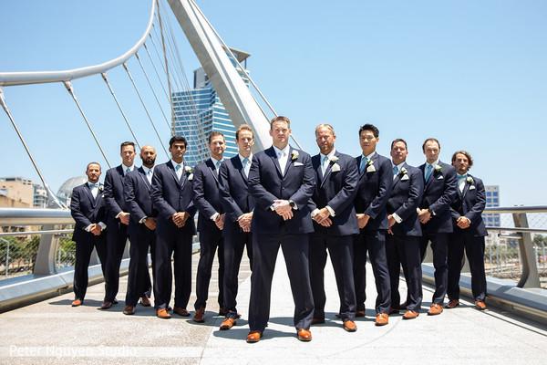 Elegant Indian groom  with groomsmen outdoors  photo shoot.