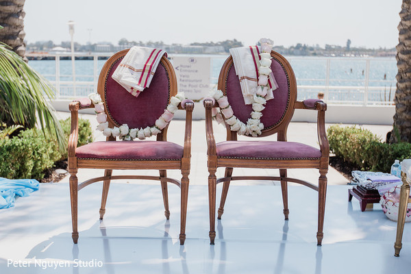Indian bride and groom's ceremony seats.