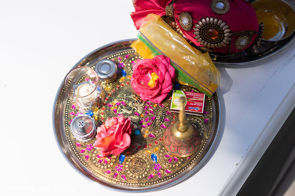 Indian wedding ceremony items capture.
