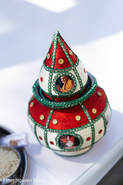 Colorful Indian wedding ceremony ritual pot.