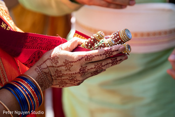 Colorful Indian wedding ceremony ritual items.
