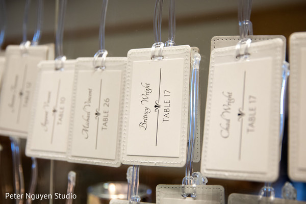 Closeup capture of Indian wedding table number cards.
