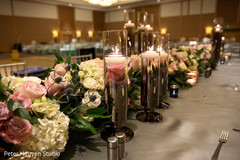 Magnificent Indian wedding table flowers decor.
