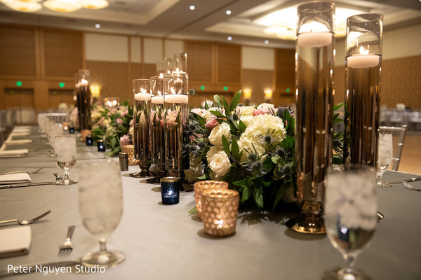 Spectacular indian wedding reception table decor.
