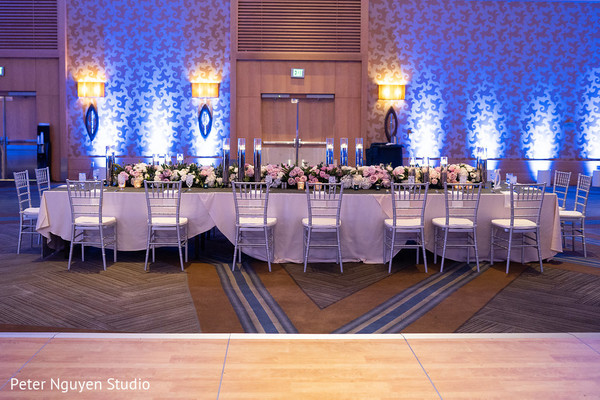 Marvelous pink and blue themed wedding decoration.