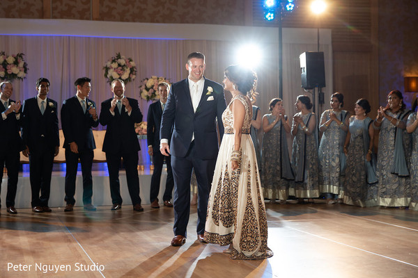 Enchanting indian wedding reception dance.