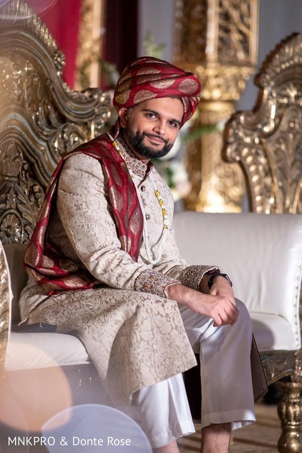 Indian groom waiting for bride capture.