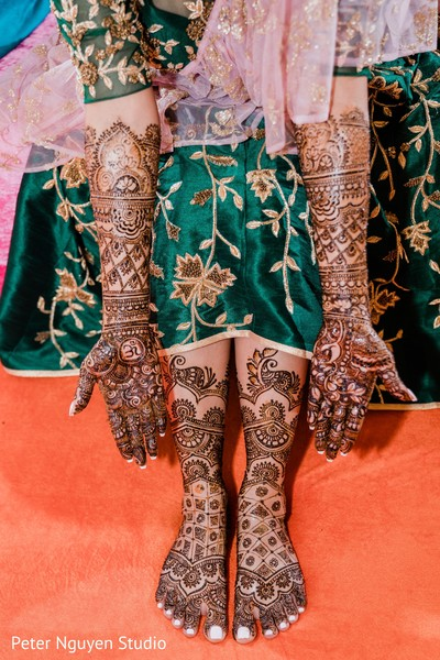 Stunning Indian bridal mehndi art on her hands and feet.