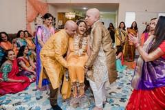 Happy Indian bride during a haldi ritual.