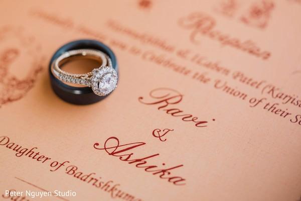 Stunning Indian wedding engagement ring and wedding band.
