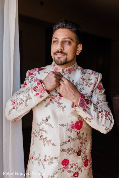Rajah getting his sherwani on.