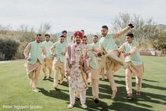 Charming Indian groom with  groomsmen capture.