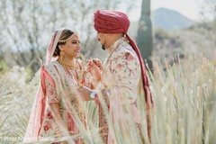 Heartwarming Indian bride and groom's first look.