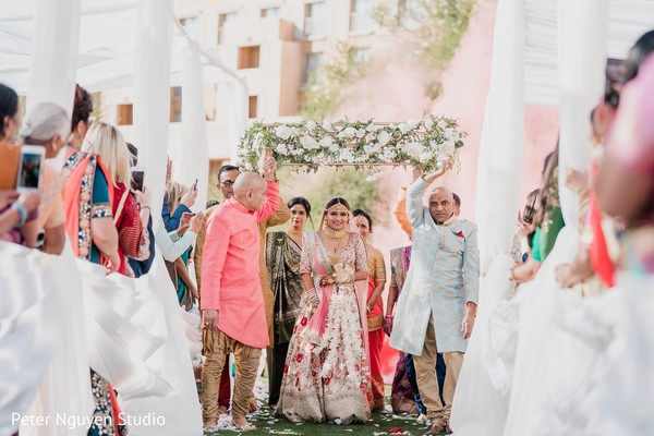 Indian bride entering her wedding ceremony.