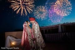 Stunning view of Indian wedding fireworks.