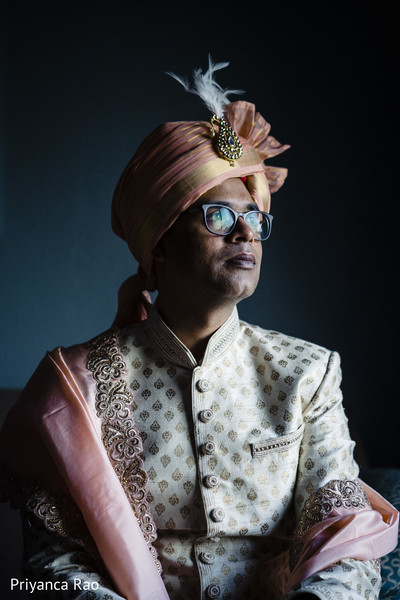 Portrait of Indian groom prior to the ceremony