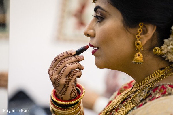 Maharani working on her makeup