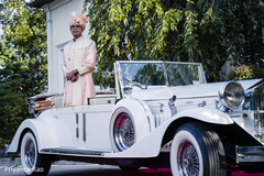 Indian groom riding the car