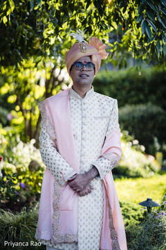 Portrait of Indian groom outdoors