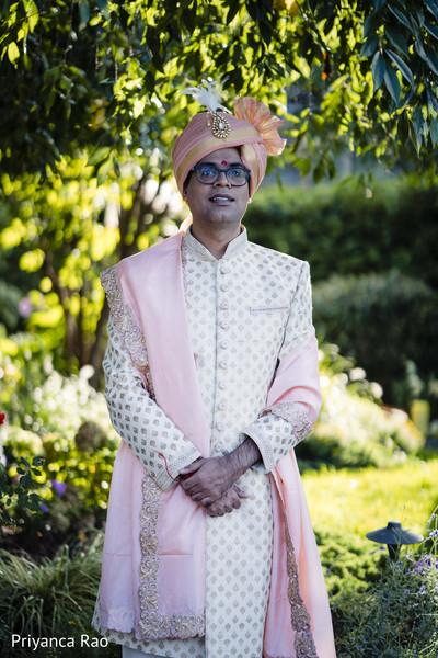 Portrait of Indian groom outdoors
