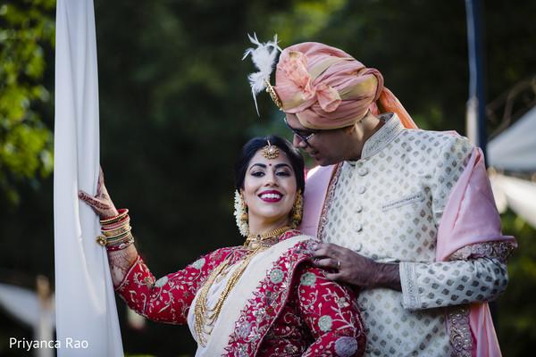 Stylish newlyweds during the photo session