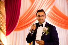 Indian groom at his reception speech capture.